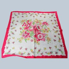 COLORFUL Vintage Printed Floral Hanky,Pink Flowers ,Handkerchief To Frame Collectible Hankies,1950s Hankies, 1950s Hanky, 1950s Handkerchiefs, Mid Century Hankies