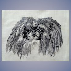 Vintage Embroidered PEKINGESE Dog Handkerchief,Dog Hanky,Small Dogs Hankie, Dog Lover Handkerchief,Collectible Animal Hankies