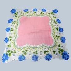 BEAUTIFUL Vintage Printed Floral Hanky, Blue Roses,Pink Handkerchief To Frame,Collectible Hankies,1950s Hankies, 1950s Hanky, 1950s Handkerchiefs, Mid Century Hankies