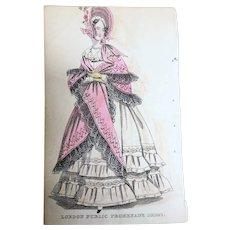 1830s ANTIQUE FASHION PRINT London Public Promenade Dress,The Newest Fashions of London, Paris Decorative Engraving,Farmhouse,French Country Decor