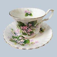 VINTAGE Royal Albert English Bone China Teacup and Saucer,May Flower Pattern,Charming Pink Flowers Cup and Saucer,Collectible Vintage Teacups