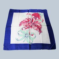 BEAUTIFUL Vintage Printed Floral Hanky,Lush Flowers,Bold Floral Handkerchief To Frame,Collectible Hankies,1950s Hankies, 1950s Hanky, 1950s Handkerchiefs, Mid Century Hankies