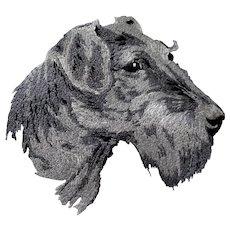 Vintage Embroidered AIREDALE TERRIER Dog Handkerchief,Dog Hanky,Terrier Dogs Hankie, Dog Lover Handkerchief,Collectible Animal Hankies