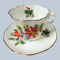 CHEERFUL Vintage Teacup and Saucer,Christmas Poinsettia Flowers,English Bone China, Royal Grafton, Holiday Cup and Saucer,Collectible Teacups