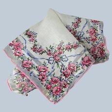 BEAUTIFUL Vintage Linen Printed Floral Hanky,Pink Roses,Blue Ribbon Handkerchief To Frame, Bridal Hankie,Collectible Hankies,1940s Hankies, 1940s Hanky, 1940s Handkerchiefs, Mid Century Hankies