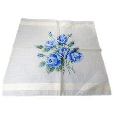 BEAUTIFUL Vintage Printed Blue Roses Hanky,Lush Flowers,Bold Floral Handkerchief To Frame,Collectible Hankies,1950s Hankies, 1950s Hanky, 1950s Handkerchiefs, Mid Century Hankies