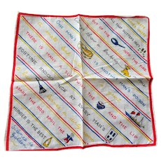 VINTAGE Ladies Handkerchief,Novelty Hanky,Old Motto Sayings Hankie,Colorful Mid Century Hankies,Old Wise Sayings,Collectible Novelty Hankies