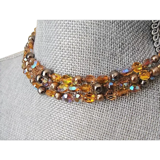 GLITTERING Glass Necklace, Faceted Amber,AB Crystals,Pearls Necklace,1950s Sparkling Triple Strand, Bridal Wedding Evening,Collectible Vintage Jewelry