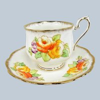 ANTIQUE Royal Albert English Bone China Teacup and Saucer,Hand Painted Flowers,1920s Cup and Saucer,Collectible Vintage Teacups