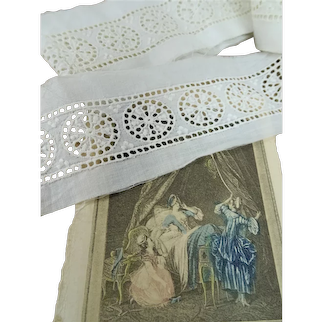 Antique French White On White Embroidered Trim,Heirloom Insertion lace,For Dolls Christening Gowns Bridal,Collectible Vintage Lace Trims