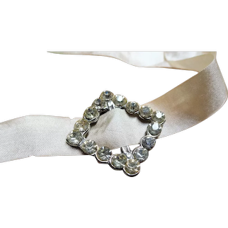 SWEET Antique Tiny Paste Buckle Slide,Doll  or Choker Size, Brilliant Glass Stones, Fine Heirloom Sewing, Collectible Buckles
