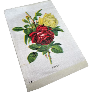 LOVELY Antique Printed Silk Flowers, Roses, Tobacco Silks, For Fine Sewing Quilting Projects or Frame It For Shabby Chic Romantic Cottage Décor