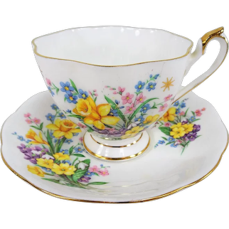 CHARMING Teacup and Saucer, English Bone China,Spring Flowers,Vintage Cup and Saucer,Tea Time China, Collectible Teacups