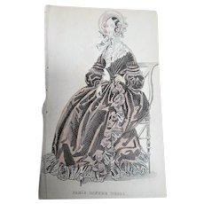 1830s ANTIQUE FASHION PRINT London Paris Dinner Dress,The Newest Fashions of London, Paris Decorative Engraving,Farmhouse,French Country Decor