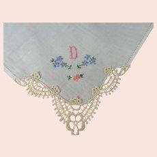 VINTAGE 1950s Monogram D Hanky Pretty Blue Embroidery Flowers,Lace Corner Handkerchief,Something Old,Bridal Hankie,Collectible Vintage Hankies