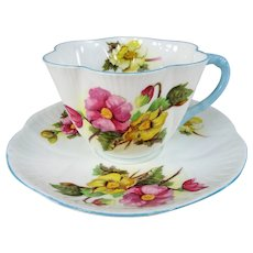 CHARMING Teacup and Saucer, Shelley English Bone China,Begonia Flowers,Vintage Cup and Saucer,Tea Time China, Collectible Teacups