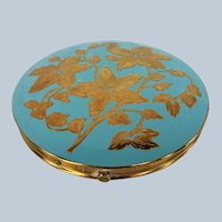 FABULOUS Large Powder Compact,Enameled Turquoise Blue and Gold Mirror Compact, Purse Powder Compact, Collectible Vintage Compacts