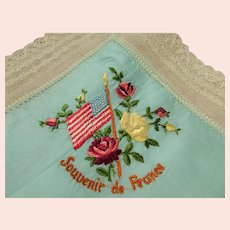 BEAUTIFUL Antique French Hanky, Souvenir of France Silk Embroidery Handkerchief, American Flag and Roses, Fit to Be framed, Collectible Vintage Hankies