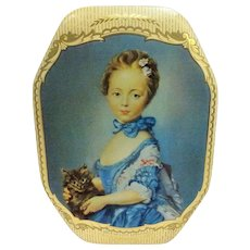 BEAUTIFUL English Vintage Biscuit Tin,W. & R. Jacob A Girl With A Cat Tin, Tin Box,Lovely Colors, Collectible Vintage Tins