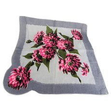 BEAUTIFUL Vintage Printed Floral Hanky, CAROL STANLEY Bold Flowers,Handkerchief To Frame,Collectible Hankies,1950s Hankies, 1950s Hanky, 1950s Handkerchiefs, Mid Century Hankies