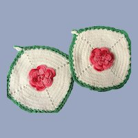 CHEERFUL 1950s Vintage Pot Holders Set,PINK White Green Hand Crocheted,Doilies Trivets,RETRO Kitchen Decor,Farmhouse Decor,50s Collectibles