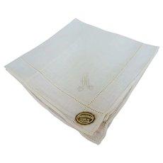 VINTAGE 1950s Monogram A Hanky, Elegant Embroidery Handkerchief, Irish Linen Hankie,Bridal Hanky,Collectible Vintage Hankies