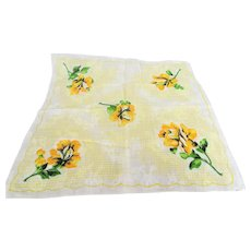 LOVELY Vintage Printed Floral Hanky, Yellow Flowers ,Handkerchief To Frame, Collectible Hankies,1950s Hankies, 1950s Hanky, 1950s Handkerchiefs, Mid Century Hankies