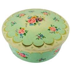 PRETTY Chintz Tin, English Vintage Tin, Lovely Floral 1930s Tin, Vanity Display, Collectible Vintage Tins