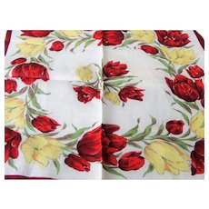 1950s Beautiful VINTAGE Printed Red Yellow Tulips Hanky,Colorful Floral Handkerchief To Frame,Collectible Vintage Printed Hankies,Decorative