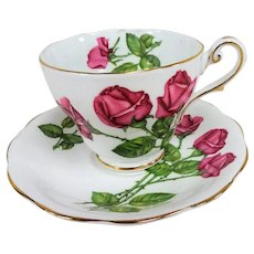 ROMANTIC English Bone China Teacup And Saucer,Royal Standard Three Red Roses Teacup and Saucer,Cup and Saucer,Collectible Vintage Teacups