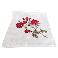 ROMANTIC Vintage Printed Red Roses Hanky,Lush Flowers,Bold Floral Handkerchief To Frame,Collectible Hankies,1950s Hankies, 1950s Hanky, 1950s Handkerchiefs, Mid Century Hankies