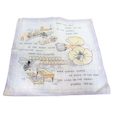 CUTE Antique Hanky,The Busy Bee, Charming Hankie To Frame, Gift For Honey Maker, Collectible Vintage Hankies