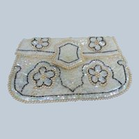 GORGEOUS Vintage Beaded and Sequinned Evening Bag, Clutch Purse, Wedding Bag, Wedding Purse, Beautiful Vintage Purses