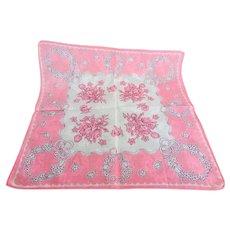 BEAUTIFUL Vintage Printed Floral Hanky,Pink Flowers,Handkerchief To Frame,Collectible Hankies,1950s Hankies, 1950s Hanky, 1950s Handkerchiefs, Mid Century Hankies