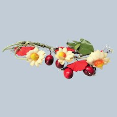ANTIQUE Large Floral Millinery Spray, Daisy Flowers and Cherries Corsage, Beautiful Colorful Decoration, Great For Hats, Dolls,Collectible Fabric Flowers
