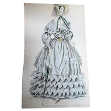 1830s ANTIQUE FASHION PRINT Promenade Dress,The Newest Fashions of London, Paris Decorative Engraving,Farmhouse,French Country Decor