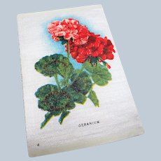LOVELY Antique Printed Silk Flowers, Geraniums, Tobacco Silks, For Fine Sewing Quilting Projects or Frame It For Shabby Chic Romantic Cottage Décor