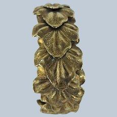 FABULOUS Clamper Bracelet Bangle, Leaf Design,Gold Tone Metal, Unique Looking Bracelet, Collectible Vintage Jewelry
