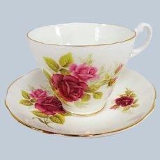 ROMANTIC English Bone China Teacup And Saucer,Royal Ascot Teacup and Saucer,Lush Roses Cup and Saucer,Collectible Vintage Teacups