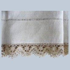 GORGEOUS Antique French Natural Linen Pillowcase,Bobbin Lace Trim,Fine Vintage Linens, French Country Farmhouse Decor,Collectible Linens