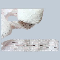 Antique French White On White Embroidered Trim Sweet Design Scallop Edges Perfect For Dolls Christening Gowns Bonnets Bridal Weddings