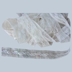 LOVELY Antique French Lace Cotton Trim Intricate Pattern For Dolls, Baby Christening Gowns,Childrens Clothing Bridal Heirloom Sewing