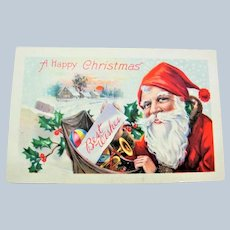 ANTIQUE Christmas Greeting Postcard HAPPY SANTA Claus Saint Nick Toys Snow Holly Berry Highly Decorative Holiday Décor Vintage Holiday Card