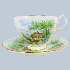 CHARMING Vintage English Teacup and Saucer,Queen Anne Fine Bone China,English Thatched Cottage,Rich Colors,Pedestal Cup,Collectible Vintage Teacups