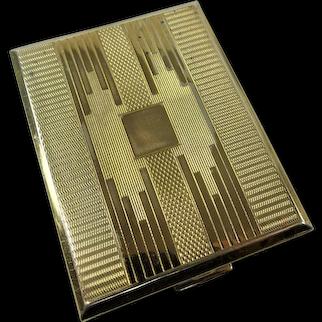 LOVELY Vintage KIGU Powder Compact,Purse Compact, Elegant Engine Turned Art Deco Design, English Vintage Powder Compact,Collectible Compacts,Vanity Decor