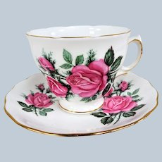 LOVELY Vintage Teacup and Saucer Royal Vale English Bone China Lush Pink Roses, Vintage Cup and Saucer, Tea Time Cups and Saucers Bridal Gifts Collectible Teacups