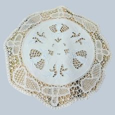 BEAUTIFUL Antique Doily,Hand Made Wide Lace Edge Linen Doily,Embroidered and Lots of Handwork,Vintage Linens,Chateau Chic,Farmhouse Linens