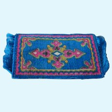 Beautiful Antique Miniature Doll House Intricate Mini Carpet Rug,1910 Tobacco Premium,Lovely Blue Rose Pattern,Fringed Doll Size Rug