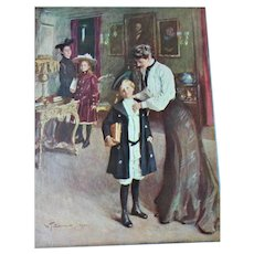 CHARMING Antique Print OFF TO SCHOOL by W.T.Smedley, 1907 Vintage Print To Frame, Gift Worthy,Collectible Prints