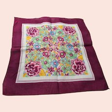 DRAMATIC Vintage Printed Floral Hanky Colorful Flowers Handkerchief To Frame Collectible Hankies,1950s Hankies, 1950s Hanky, 1950s Handkerchiefs, Mid Century Hankies